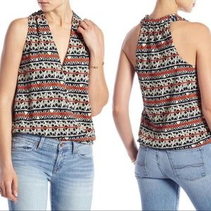Lucky Brand Triangle Striped Linen Wrap Tank Top
